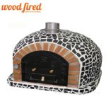 SUPERIOR BLACK MOSAIC WOOD FIRED PIZZA OVEN WITH CAST IRON FLUE AND MOSAIC TILES